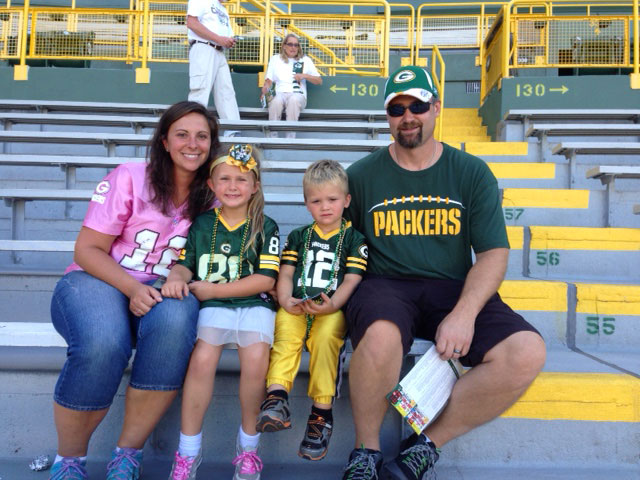 Packer Ticket Winner Krista Schley at the Game - Tickets Provided by Door County Dental Care