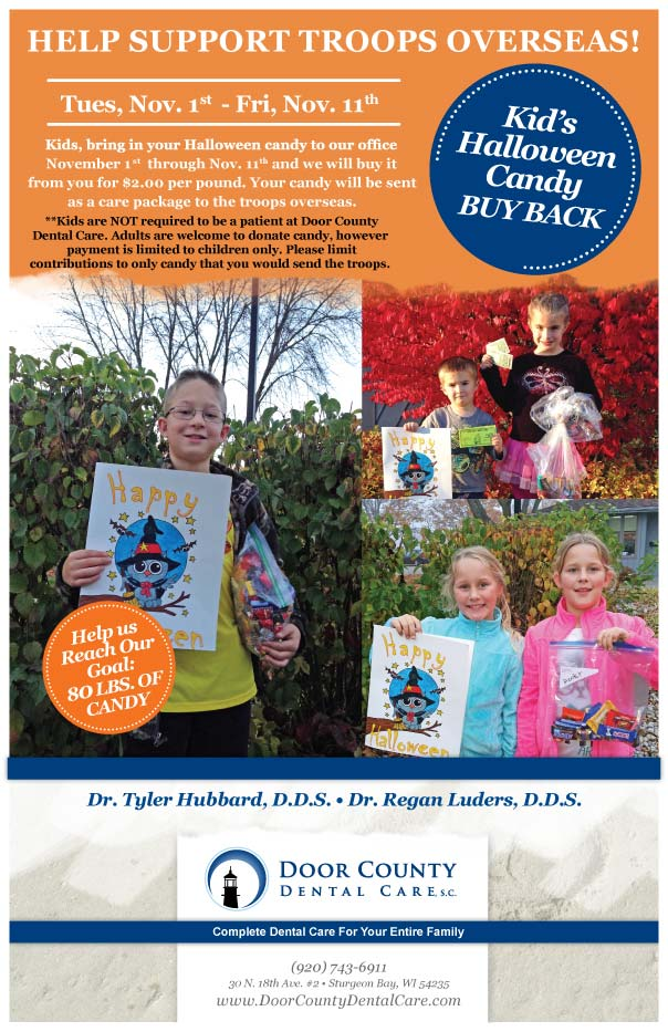2016 Halloween Candy Buyback at Door County Dental Care