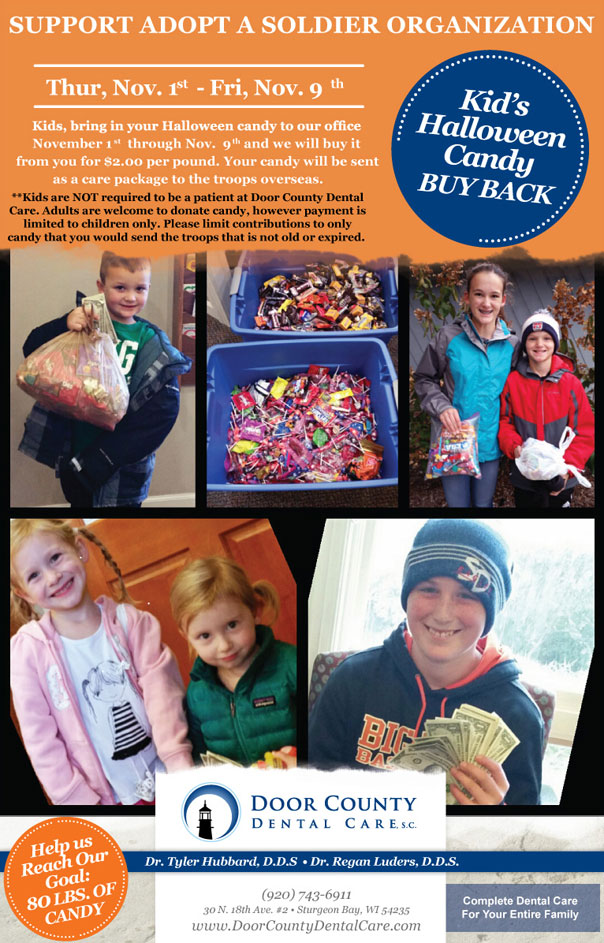 2018 Door County Dental Care Halloween Candy Buyback