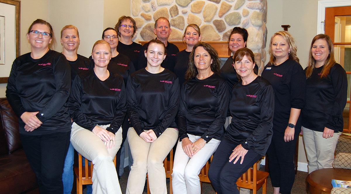 Door County Dental Care Staff in Ellie Helm Foundation Shirts