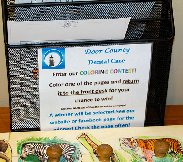 Coloring Contest Instructions at Door County Dental Care in Sturgeon Bay, WI